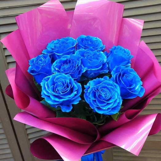 9 синих роз эквадор в оформлении