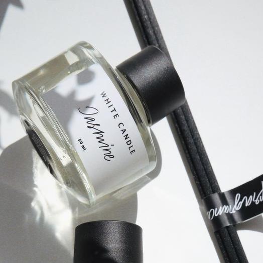 Ароматический диффузор Jasmine + палочки, 50 мл/ Аромат жасмин, WHITE CANDLE
