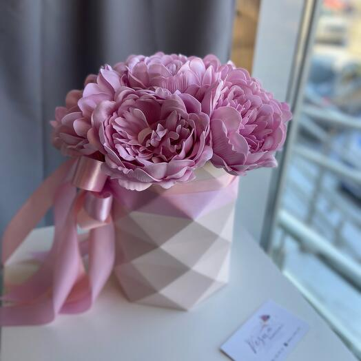 Peonies made of soap in a stylish box