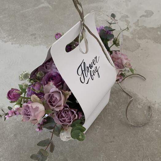 """Цветочная композиция Flowerbag """"Лиловый восторг"""""""