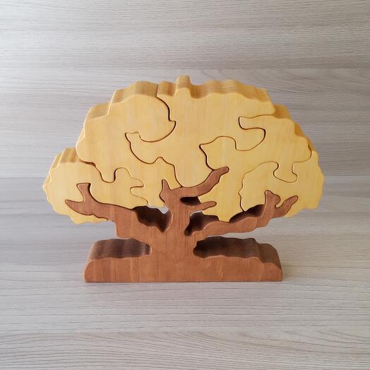"""Деревянный пазл из кедра ручной работы """"Осеннее дерево"""", 6 элементов"""