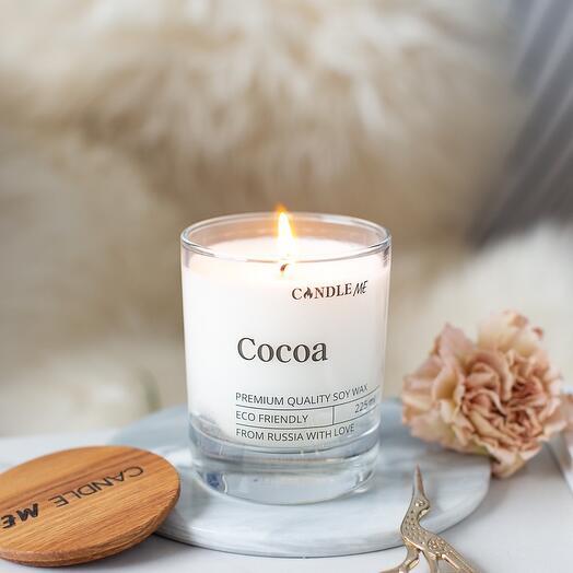 Свеча Cocoa/ Какао с хлопковым фитилем, аромасвечи CANDLE ME