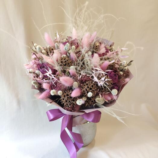 """""""Пурпурный"""" букет из сухоцветов"""