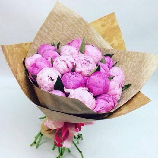 Букет из 19 пионов микс: букеты цветов на заказ Flowwow