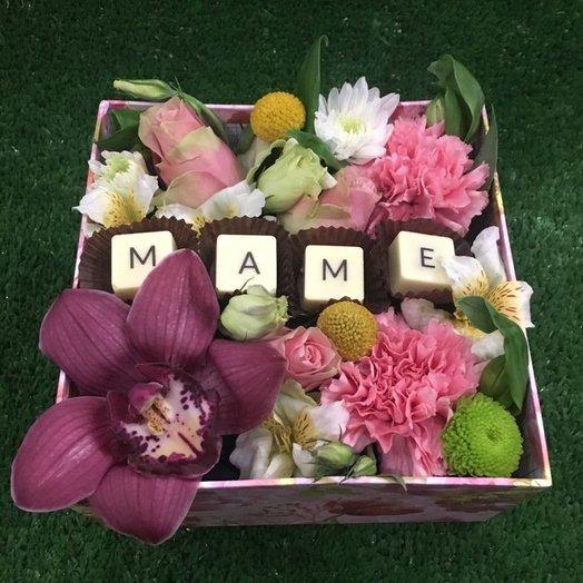 Flowerbox с орхидеей и щоколадом ручной работы