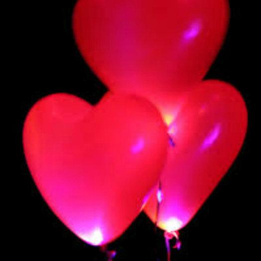 Светящиеся сердца 30 шт: букеты цветов на заказ Flowwow