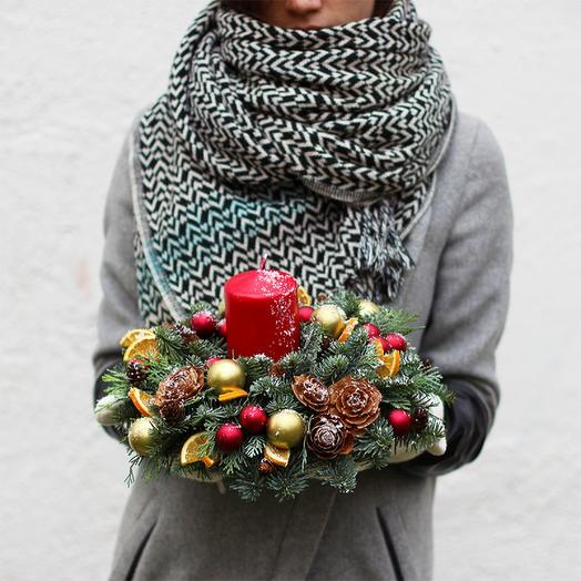 Новогодняя композиция 07: букеты цветов на заказ Flowwow