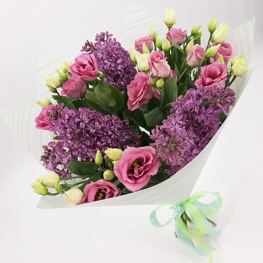 Сирень и эустома: букеты цветов на заказ Flowwow
