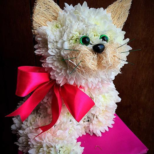 Игрушка из цветов Кошечка: букеты цветов на заказ Flowwow