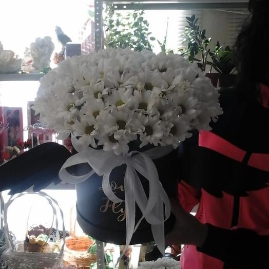 Хризантемы в шляпной коробке: букеты цветов на заказ Flowwow