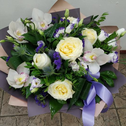 """Bouquet with Orchid and peony rose """"Swan lake"""": flowers to order Flowwow"""