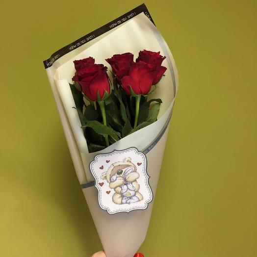 Роза Голландская 60см: букеты цветов на заказ Flowwow