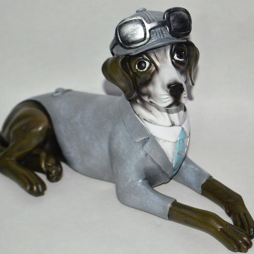 Фигура Собака в голубом костюме, 36 х h25 см, полистоун, W81-2: букеты цветов на заказ Flowwow