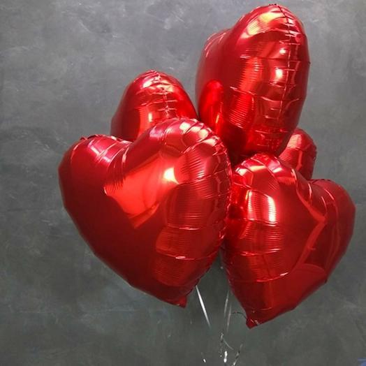 Сердце фольгированное 5шт