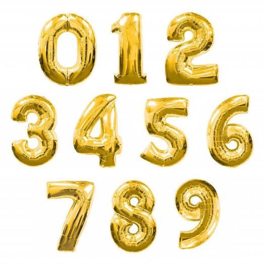 Воздушный шар «Цифра золото» 34  /86 см