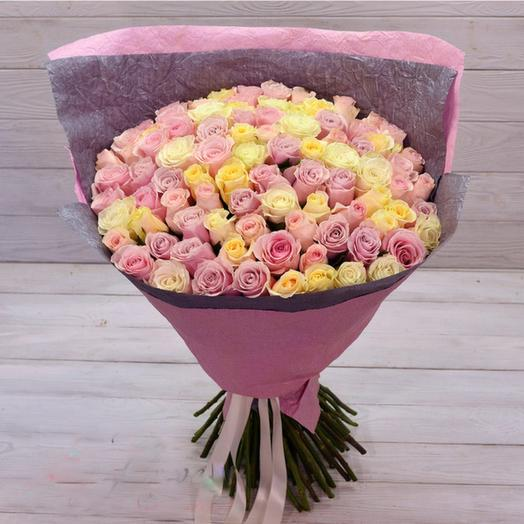A delicate mix of 91 roses