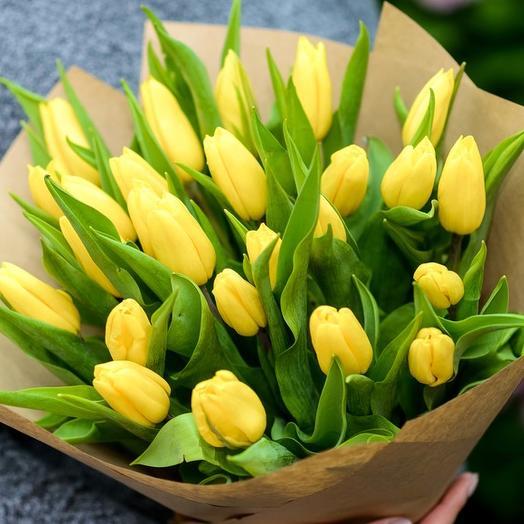 """Букет """"Солнечный"""" из 45 желтых тюльпанов Тюльпаны Букет из тюльпанов"""