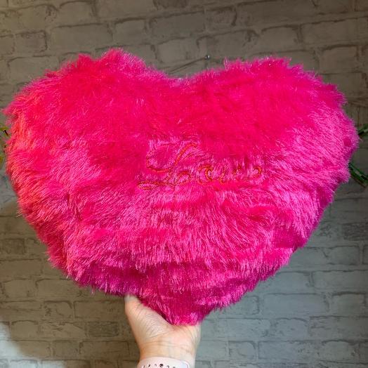 Подушка сердце малиновое, 35x40см