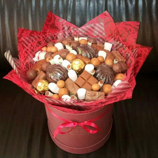 Sweet mix in a hatbox