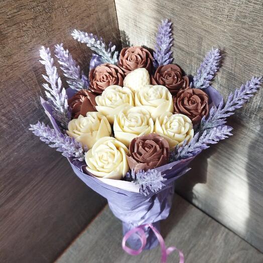 Съедобный Букет шоколадные розы