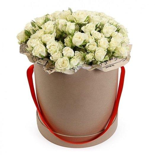 15 кустовых роз в шляпной коробке: букеты цветов на заказ Flowwow