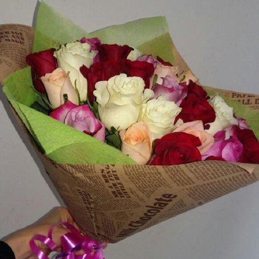 Букет разноцветных роз: букеты цветов на заказ Flowwow