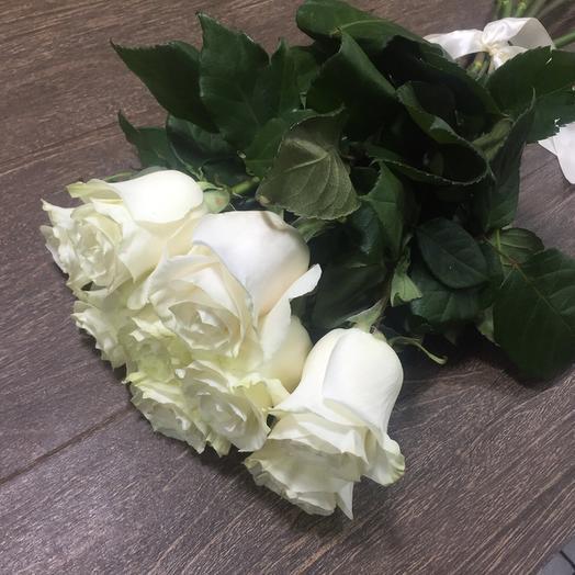 Букет из 9 белых голландских роз 60 см: букеты цветов на заказ Flowwow