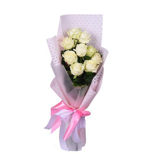 9 белых розл: букеты цветов на заказ Flowwow