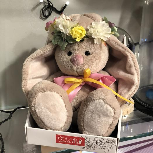 Зайка Ми в веночке: букеты цветов на заказ Flowwow