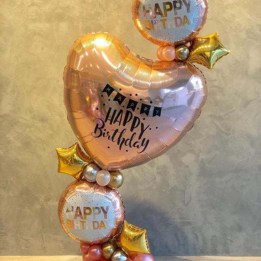 """Открытка из шаров """"НВ"""": букеты цветов на заказ Flowwow"""
