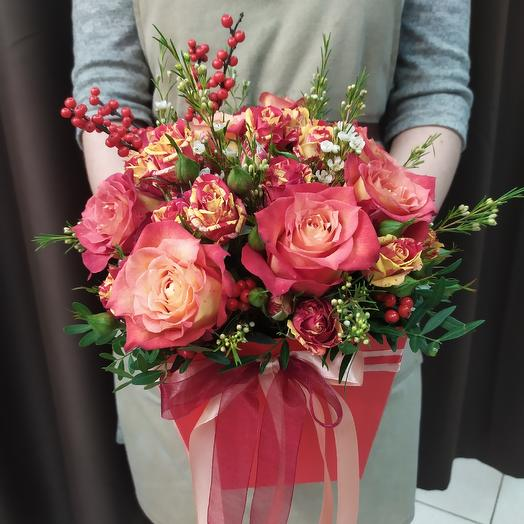 Коробка огонь :-): букеты цветов на заказ Flowwow
