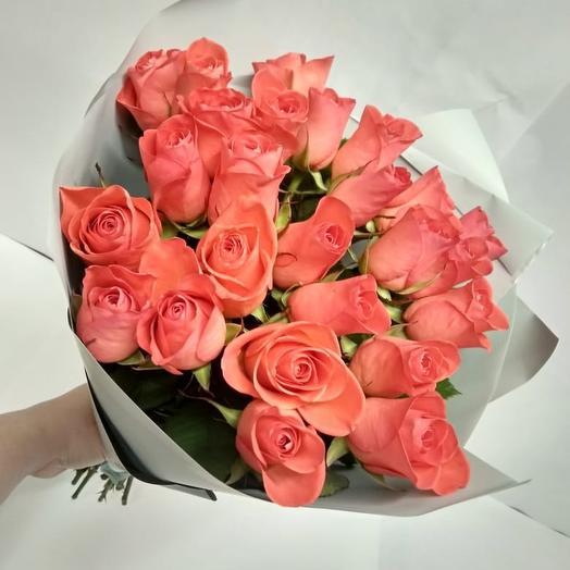 25 рыжих роз 50 см: букеты цветов на заказ Flowwow