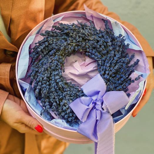 Венок из лаванды (сухоцвет) в подарочном оформлении