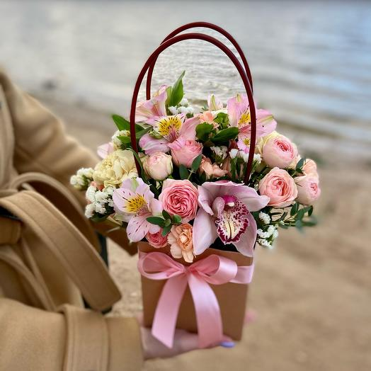 Flowers in a bag for mom 😊