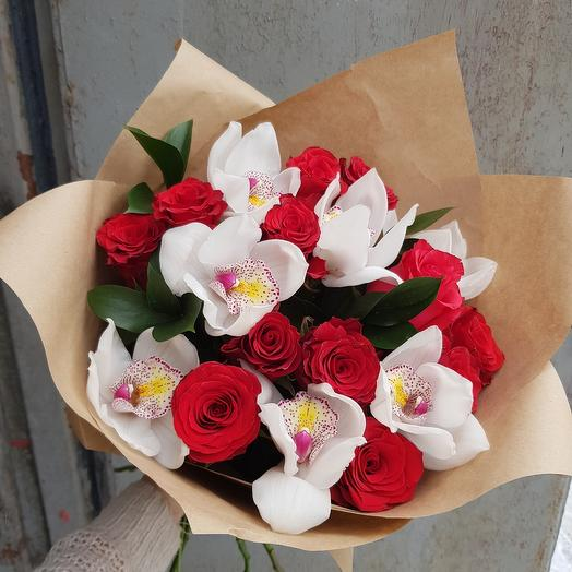 """Букет """"Розы и орхидеи"""""""