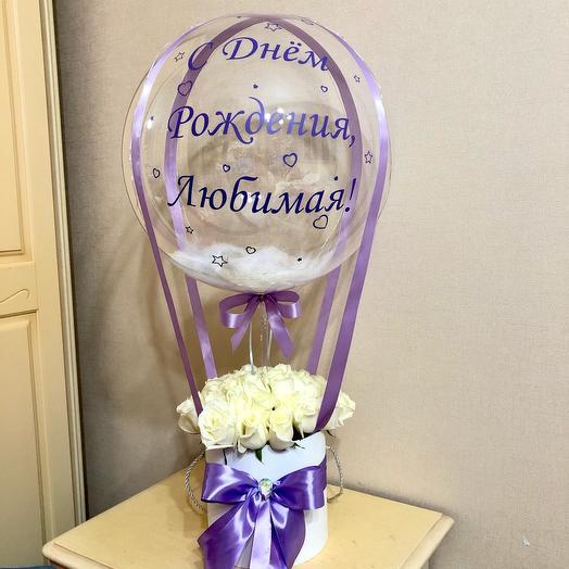 Цветы с шаром. 45 белых роз