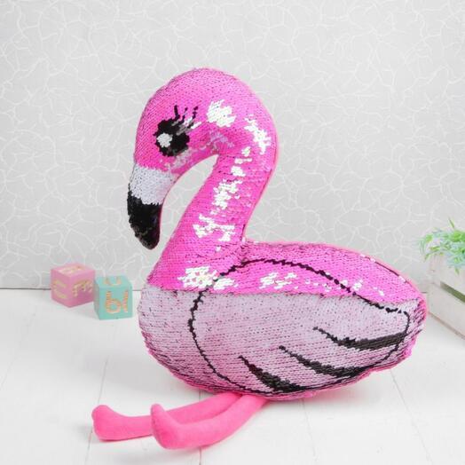 Мягкая игрушка «Розовый фламинго», пайетки