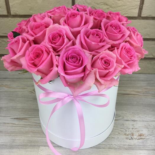 Позовые розы в белой коробке