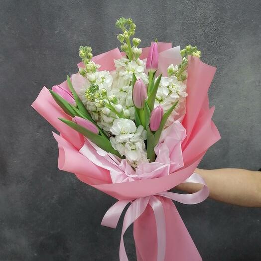 💕Букет - комплимент💕 из тюльпанов и маттиолы