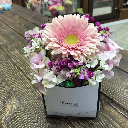 Цветы в коробке Розовое счастье