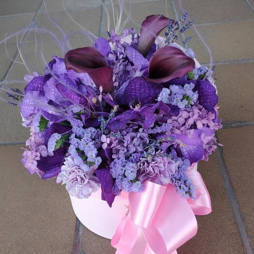 Цветы в коробке Сиреневый Туман