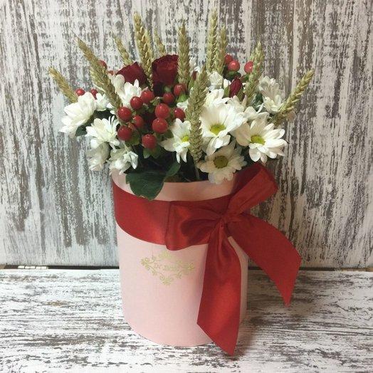 Букет в шляпной коробке (Осенний): букеты цветов на заказ Flowwow