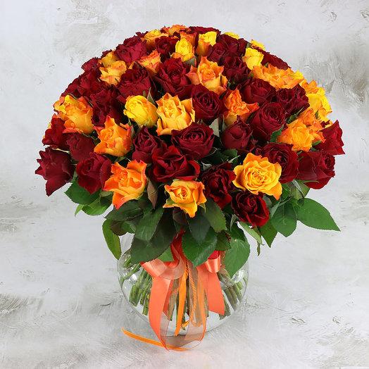 Букет из 101 желтой и красной розы 40 см: букеты цветов на заказ Flowwow
