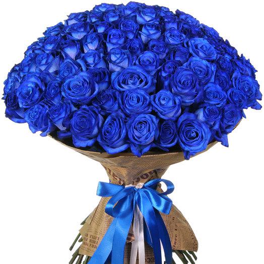 Букет из 101 синей розы: букеты цветов на заказ Flowwow