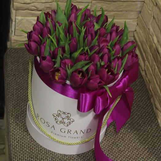 До 49 голландских тюльпанов в белой коробке: букеты цветов на заказ Flowwow