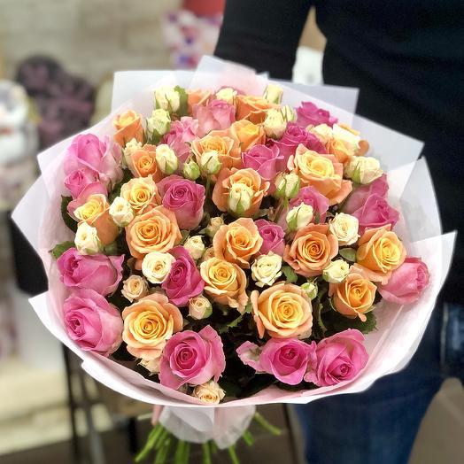 """Букет из 51 розы """"Краски рассвета"""": букеты цветов на заказ Flowwow"""