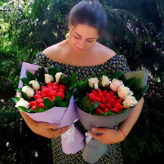 """Клубничный букетик """"Экстаз"""": букеты цветов на заказ Flowwow"""