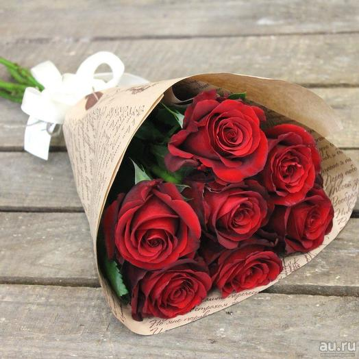 7 роз в упаковке: букеты цветов на заказ Flowwow