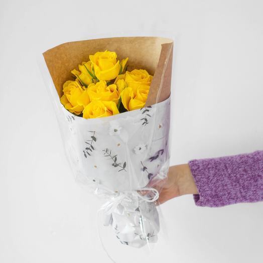 Букет из 7 роз Кения (желтый): букеты цветов на заказ Flowwow