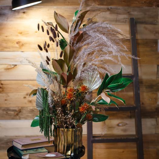 Композиция из сухоцветов в кашпо: букеты цветов на заказ Flowwow